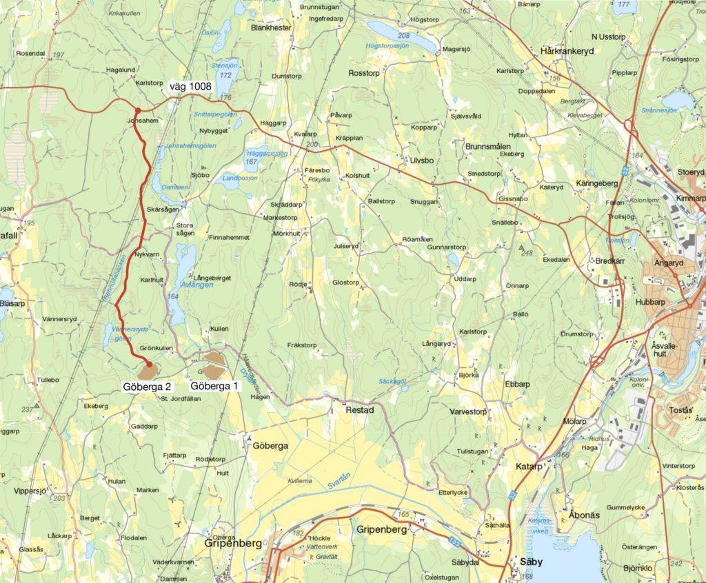Karta över täkterna i Göberga